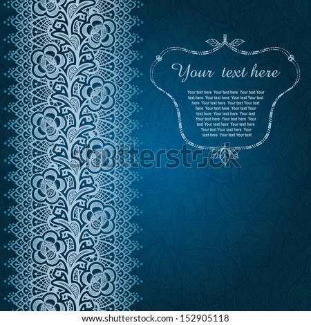 Winter time decoration, invitation card on background with lace ornament. Template frame design for card in cold winter theme. Useful for packaging, invitations, decoration, bag template, etc