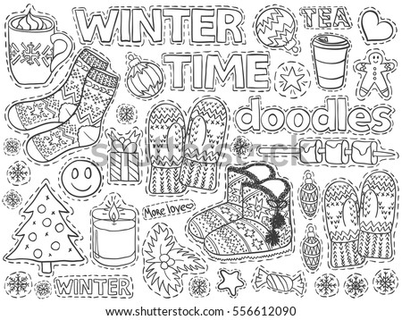 Winter time doodles set. December, january, february cold season. Cozy home sketch elements like socks, candles, coffee, sweets, Christmas tree balls. Vector for web or printed products.