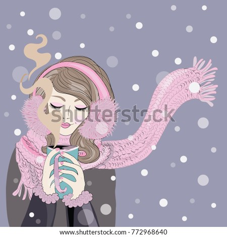 Winter time. Woman with knitted pink scarf with beautiful make up holding warm tea mug. Vector illustration on violet background with snowing