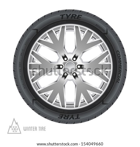 Winter tire abstract illustration. No transparency, no gradient mesh. - stock vector
