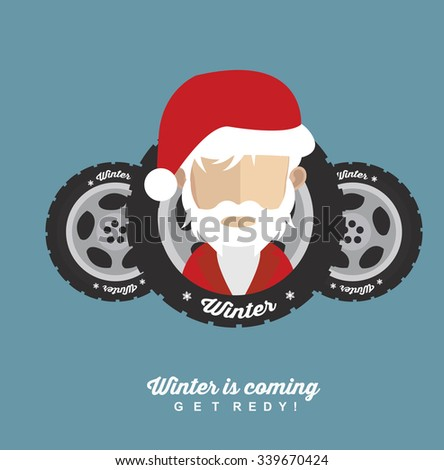 Winter tire with Santa - stock vector