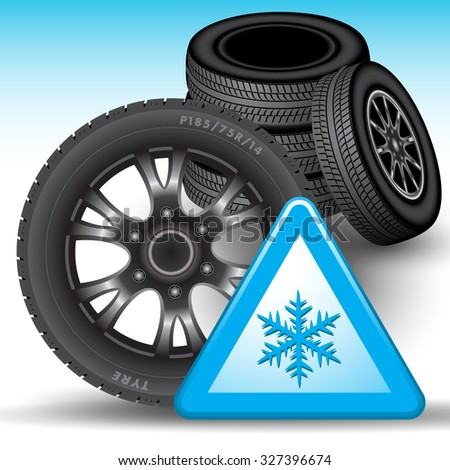 Winter tires and snow warning sign isolated on background. Vector illustration - stock vector
