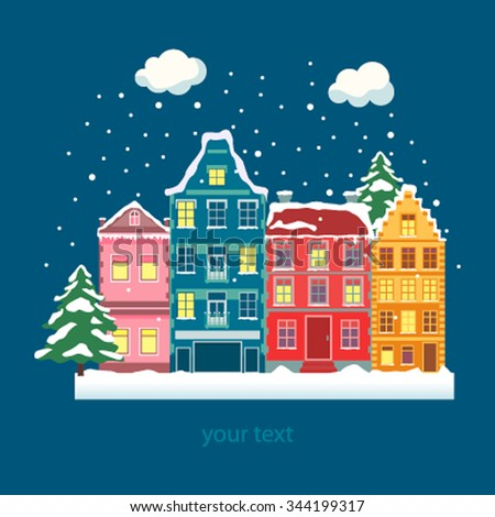 Winter town city flat landscape for design Christmas card. Vector illustration