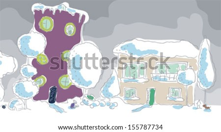 Winter town. Two houses. Boy clinging snow caterpillar. Child looking at snow house. - stock vector