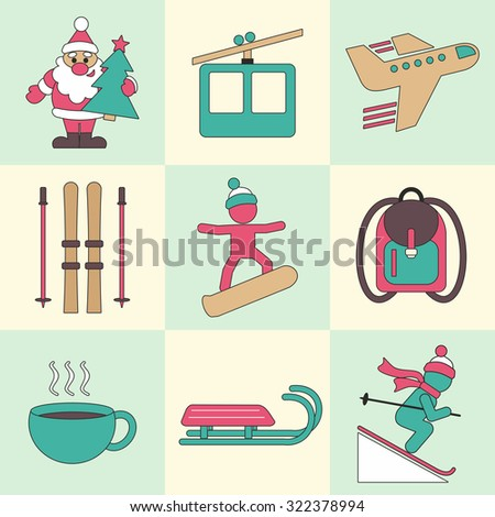 Winter travel flat design icons with Santa Claus, aircraft, ski set, skis, poles, snowboarder, backpack, sled isolated vector illustration.