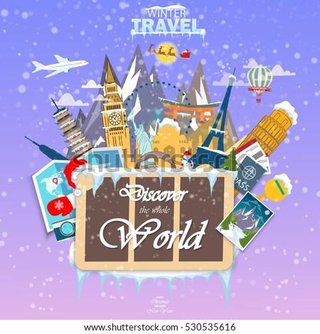 winter travel travel world vacation road stock vector royalty free