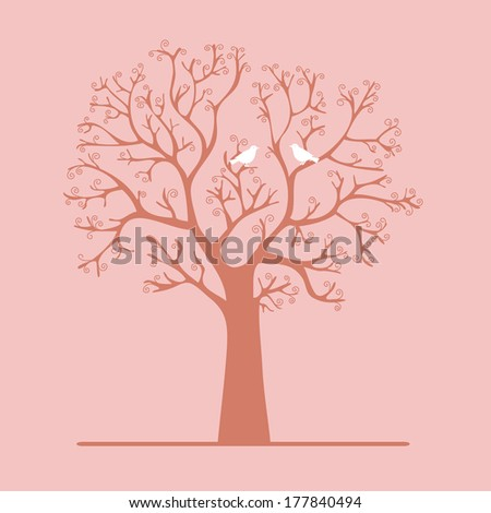 Winter tree with birds vector illustration  - stock vector