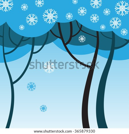 Winter tree with snowflakes - stock vector