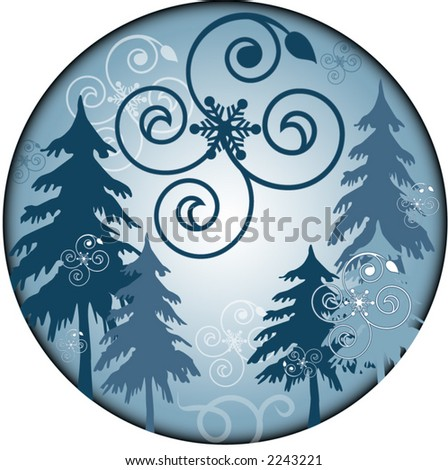 winter trees illustration series - stock vector