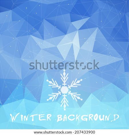 Winter triangle pattern in blue colors. Vector background for web and mobile design. Corporate style and identity version.  Wallpapers, website and banners design. Snowflake symbol. - stock vector