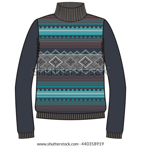 Winter Tribal Jumper Knit Handmade American Stock Vector Royalty