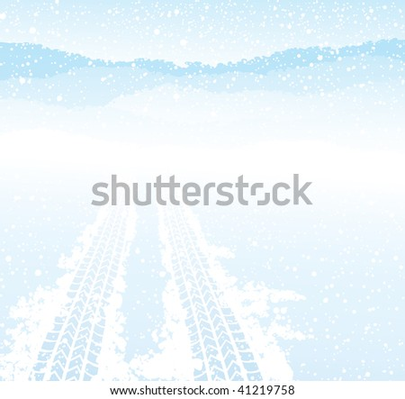 Winter tyre track,  vector illustration - stock vector