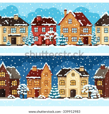 Winter urban landscape pattern with houses and trees.