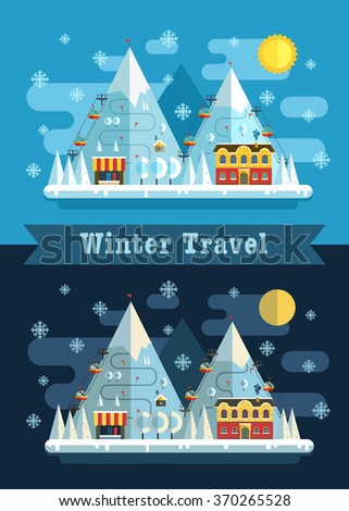 Winter vacation flat landscape. Ski mountain winter resort day and night. Winter time poster evening and morning winter landscape  with funiculars, mountains, hotel and snow. Vector winter concept. - stock vector