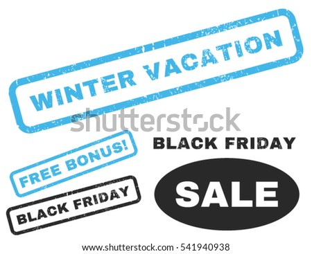 Winter Vacation rubber seal stamp watermark with additional images for Black Friday sales. Vector blue and gray stickers. Text inside rectangular banner with grunge design and dust texture.