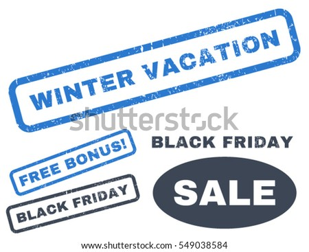 Winter Vacation rubber seal stamp watermark with bonus design elements for Black Friday offers. Vector smooth blue stickers. Text inside rectangular shape with grunge design and dirty texture.