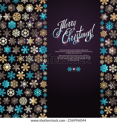 """Winter vector background with colorful snowflakes of different shapes. Card with the inscription """"Merry Christmas"""". Snow background. Celebratory dark purple backdrop. Greeting card, invitation.  - stock vector"""
