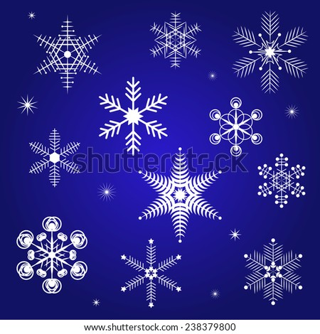 Winter vector background with snowflakes. Christmas & New Year vector decoration design for wallpaper, wrapping paper, doily, pattern fills. Geometric Backdrop. Snowflakes set. - stock vector
