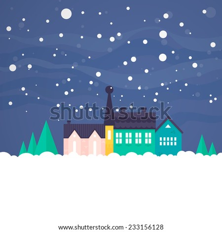 Winter vector card with house, nature and snow. Xmas celebration, christmas invitation, new year card design. Flat snowy town.   - stock vector