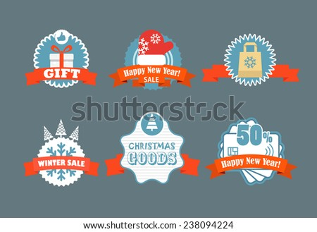 Winter vector discount labels. Vector vintage labels discount labels set  - stock vector