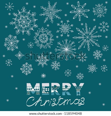 Winter vector illustration with falling snowflakes and place for your text. Christmas banner - stock vector