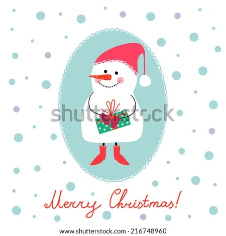 Winter vector illustration with snowman, gifts and socks. Perfect for Christmas cards.  - stock vector