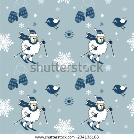 Winter vector seamless pattern featuring cute lambs, snowflakes and bird - stock vector