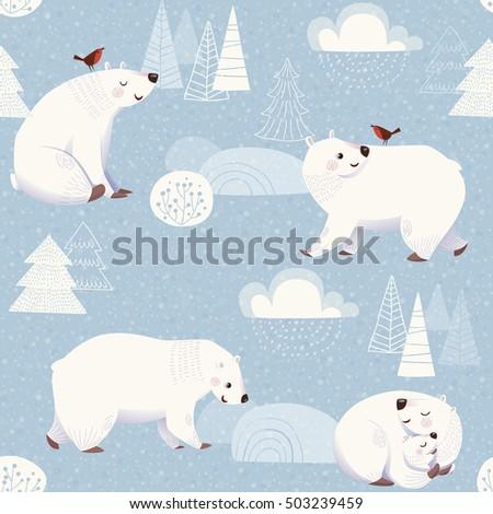 winter vector seamless pattern cute polar stock vector. Black Bedroom Furniture Sets. Home Design Ideas