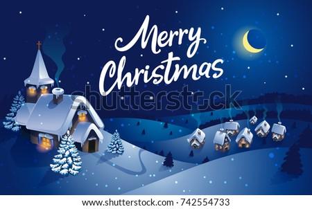 Winter village christmas background greeting card stock vector winter village christmas background greeting card vector m4hsunfo
