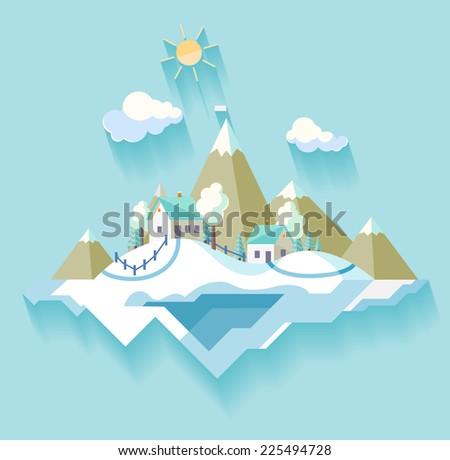 Winter Village landscape - stock vector