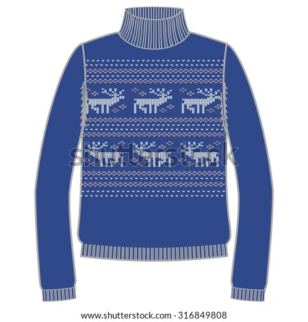Winter warm sweater handmade, svitshot, jumper for knit, blue color. Women's sweaters, men's sweater, unisex sweater. Design - snowflakes, reindeer jacquard pattern. Christmas, New Year, stock vector