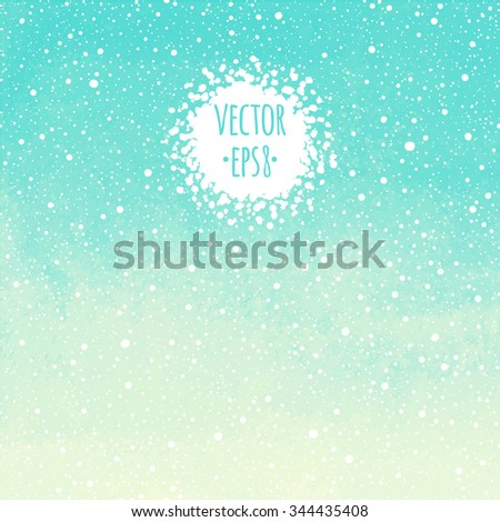 Winter watercolor vector abstract background with falling snow seamless splash texture. Mint green and yellow painted template. Hand drawn snowfall with watercolour stains. Snowflakes are removable. - stock vector