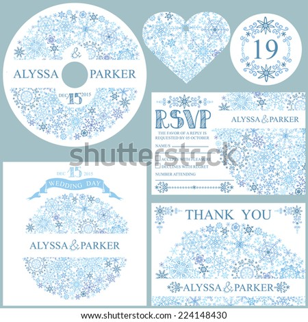 Winter wedding  set with Snowflakes circle composition.Openwork elements,text,numbers,ribbon, border.Vector design template CD or DVD,cover,RSVP,Thank card,Number,tag.Vector design template - stock vector