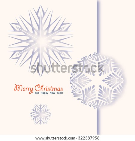 Winter white background with paper snowflakes. Vector illustration.