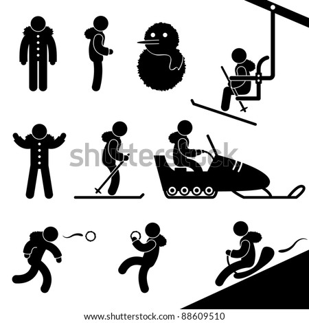 Winter Wintertime Activity Leisure Vacation Holiday Sport Recreation Chairlift Skiing Snowmobile Snow Fight Sledding Snowman People Icon Symbol Sign Pictogram - stock vector