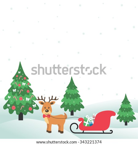 winter with christmas trees and deer and sleigh