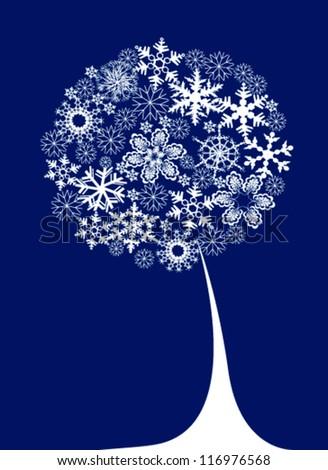 winter  with snow tree - stock vector
