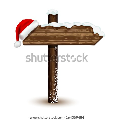 Winter wooden arrow in vector - stock vector