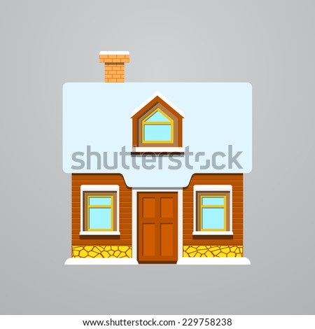 Winter wooden house. Vector illustration.