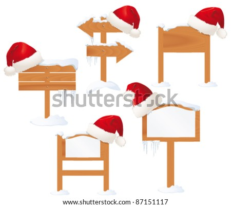 Winter  wooden sign with Santa hat on white background - stock vector
