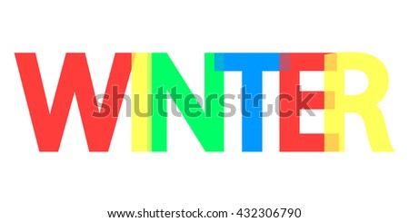 Winter, word design, banner, background with colorful text, vector illustration
