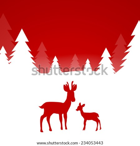 Winterscene - christmas card - vector