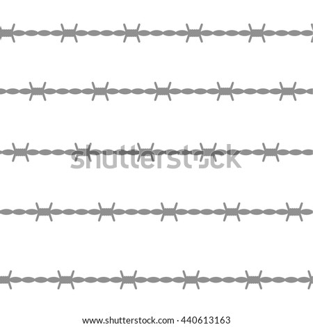 Wire barb vector fence seamless pattern, isolated on white. Protection concept design.