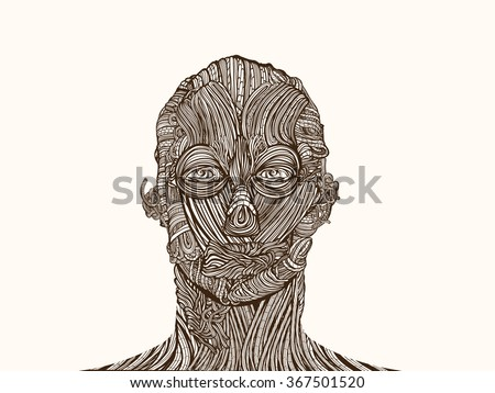 Wire face. Anatomical network structure.