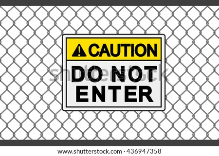 wire fence and caution graphic vector - stock vector
