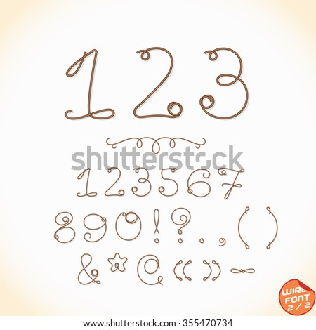 Wire Font  - stock vector
