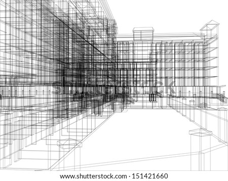 Wire-frame abstract archticture on the white background. EPS 10 vector format - stock vector