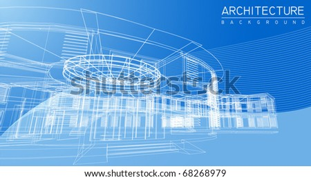 Wire frame architecture - stock vector