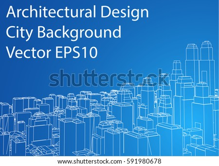 Wireframe City Blueprint Style Rendering Stock Vector