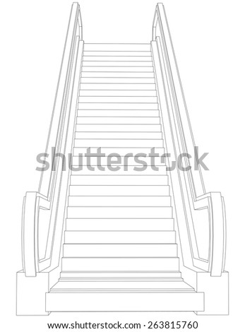 Wire-frame escalator. Front view. Vector illustration rendering of 3d